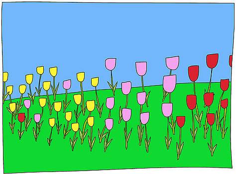 Tulips in a garden by Nicholas Brockbank