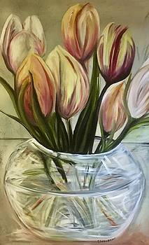 Tulips in a vase by Chuck Gebhardt