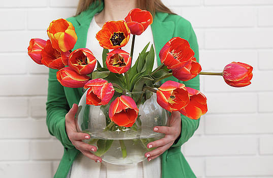 Tulips in a vase  by Iuliia Malivanchuk