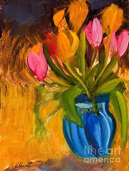 Tulips in Blue Glass Vase by Suzanne Elliott