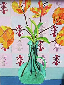 Tulips in Green Vase by Martin Silverstein