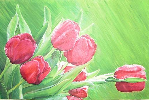 Tulips in the rain by Ewald Smykomsky  Tulips in the rain