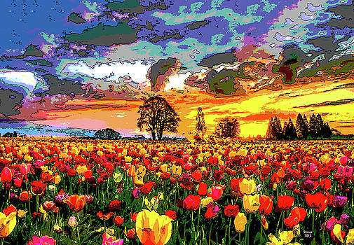 Tulips In The Sunset by Charles Shoup