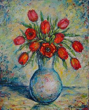 Tulips in The Vase by Mirjana Gotovac