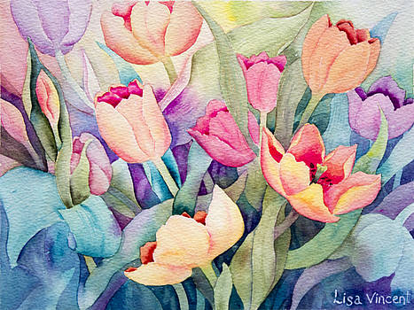 Tulips In Turquoise by Lisa Vincent