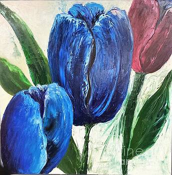 Tulips large Oil flowers by Barbara Haviland