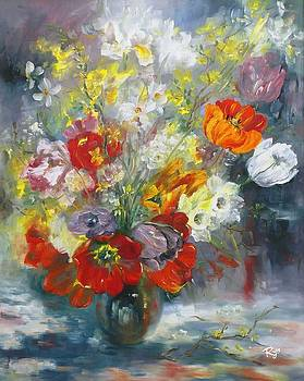 Tulips, narcissus and forsythia by Ryn Shell