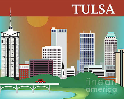 Tulsa Oklahoma Horizontal Skyline by Karen Young