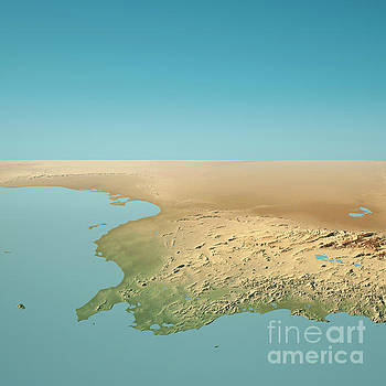 Tunisia 3D Render Topographic Landscape View From North by Frank Ramspott