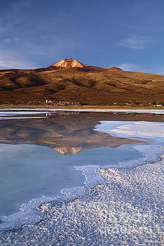 Tunupa Volcano Reflected in Salar de Uyuni at Twilight Bolivia by James Brunker