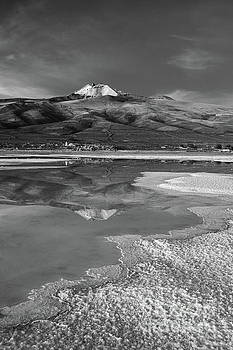 Tunupa Volcano Reflections in Black and White Bolivia by James Brunker