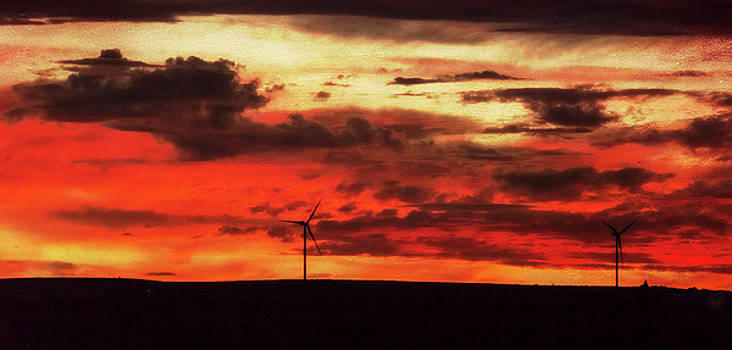 Turbines at sunset by Deborah Ann Stott