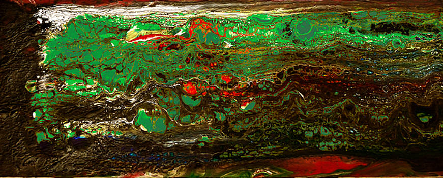 Turbulent Waters Meet Sea Wall_acrylic pour #7 by Richard Ortolano