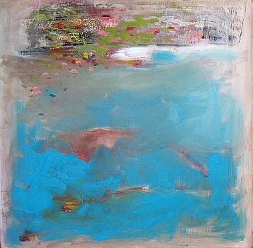 Turquoise and Dirty White Abstract by Brooke Wandall