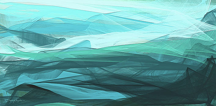Turquoise And Gray Modern Abstract by Lourry Legarde