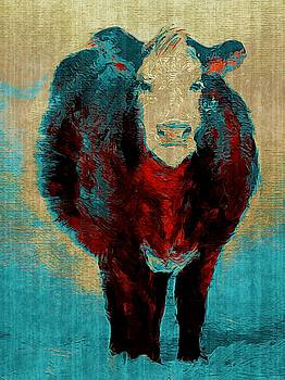 Turquoise Cow Art Painting  by Michele Carter