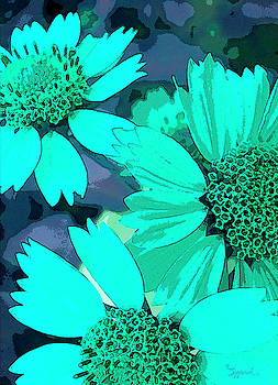 Turquoise Flowers by Sipporah Art and Illustration