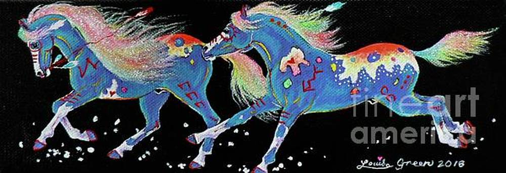 Turquoise Ponies In The Falling Snow by Louise Green