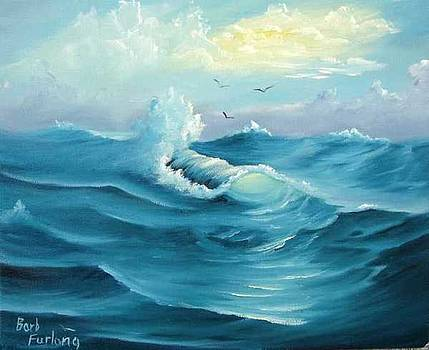 Turquoise Sea seascape oil painting by Barbara Furlong