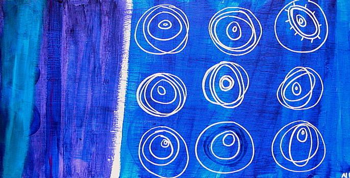 Turquoise Silver Blue Irregular by Nina Bravo