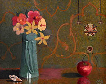 Turquoise vase with apple and flowers by Maury Hurt
