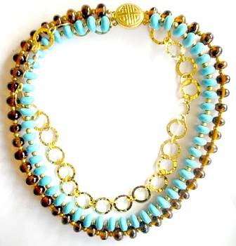 Turquoise with Gold Chain by Pat Stevens