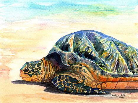 Turtle at Poipu Beach 8 by Marionette Taboniar