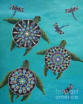 Turtles and dragon flys by Beverly Livingstone