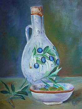 Tuscan Elements - Olive oil with olives by Virgilla Lammons