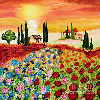 Tuscan Field of Poppies by Art by Danielle