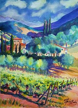 Tuscany Vineyard Blues by Therese Fowler-Bailey