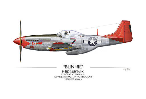 Tuskegee Airmen P-51 Mustang - White Background Art Print by Craig Tinder