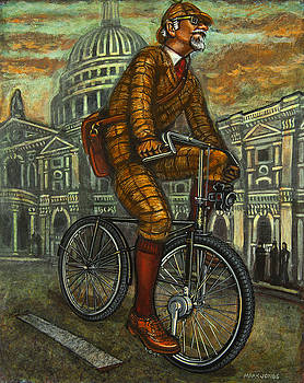 Tweed Run Gentleman in Brown passing St Pauls by Mark Howard Jones