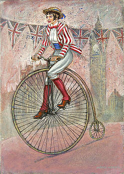 Tweed Run Lady in pink  by Mark Howard Jones