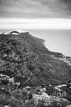 Twelve Apostles South Africa Black And White by Tim Hester
