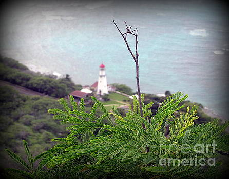 Twig plant and lighthouse by Joy Patzner