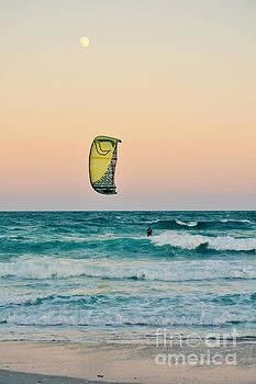 Twilight Kite Surfer Under the Moon by Kelly Nowak