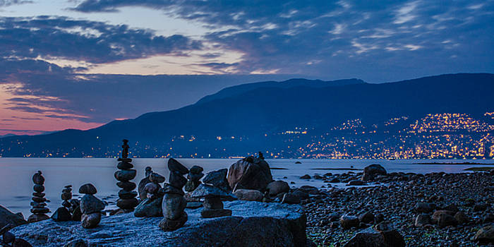Twilight over English Bay in Vancouver, British Columbia by Matthew MacPherson