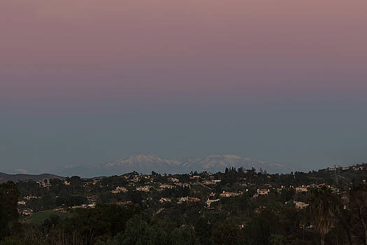 Twilight Over Snow Capped Big Bear  by Angela Stanton
