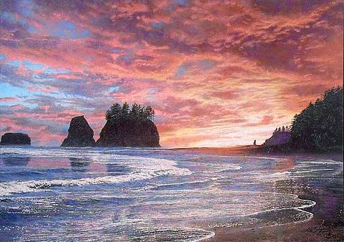 Twilight . Quinault Indian Nation Sunset by Loren Salazar