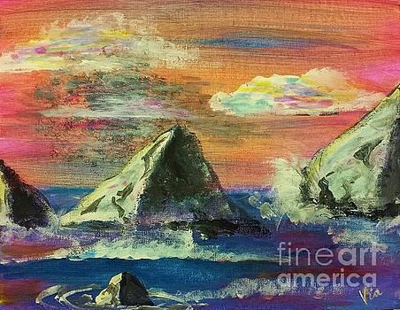 Twilight Sea Rocks by Judy Via-Wolff