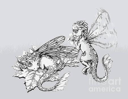 Two baby dragons - grey  by Anne Koivumaki - Fine Art Anne