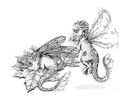 Two baby dragons - white by Anne Koivumaki - Fine Art Anne