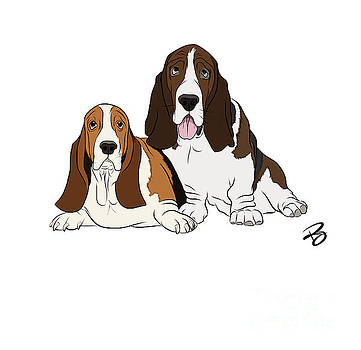 Two Bassets by Rachel Barrett