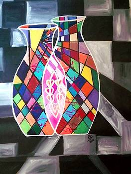 Rizwana Mundewadi - Two Become One Cubism Love Painting