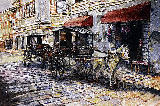 Two Carriages on Crisologo Street by Joey Agbayani