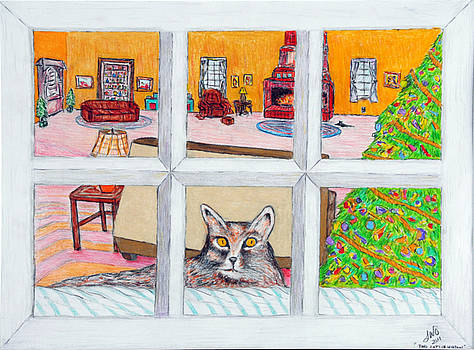 Two Cats in the Window by Larry Oldham