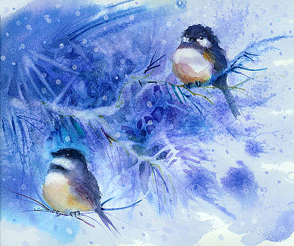 Peggy Wilson - Two Chickadees in Snow