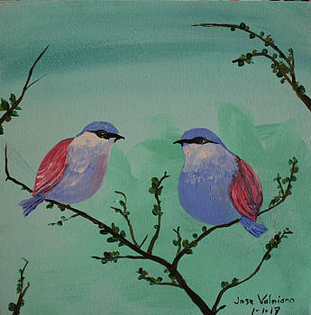 Two Chickadees by M Valeriano