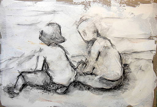 Two children by the sea 1 by Alfons Niex